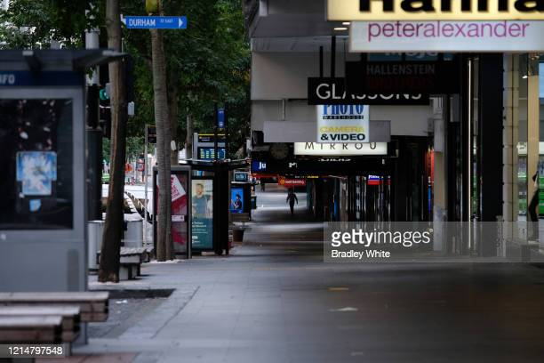 Queen Street in the CBD is seen nearly empty of people due to the COVID19 virus lockdown on March 26 2020 in Auckland New Zealand New Zealand has...