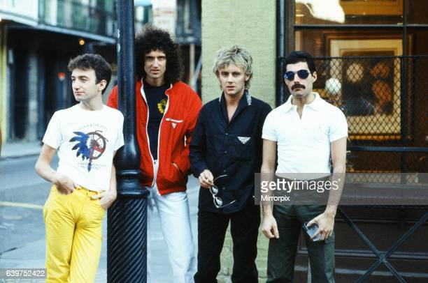 Queen the rock band Freddie Mercury Brian May Roger Taylor and John Deacon seen here in New Orleans USA They are rehearsing for their forthcoming...