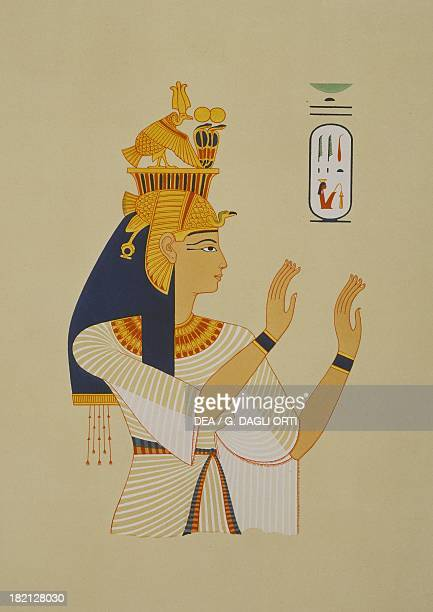 Queen Tiye wife of Amenhotep III 18th Dynasty copy of a Theban fresco Engraving from Atlas de l'Histoire de l'Art Egyptien d'apres les monuments...