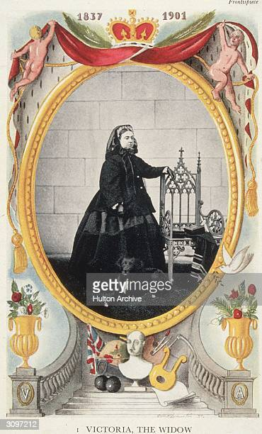 Queen Victoria aged 48 dressed in black after the death of her husband Prince Albert A bust of the late consort stands on the steps beneath the...
