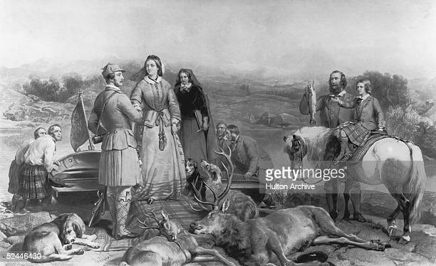 Queen Victoria and her family enjoy the pleasures of the outdoor life in Scotland, circa 1850. Prince Albert helps the Queen out of a fishing boat,...
