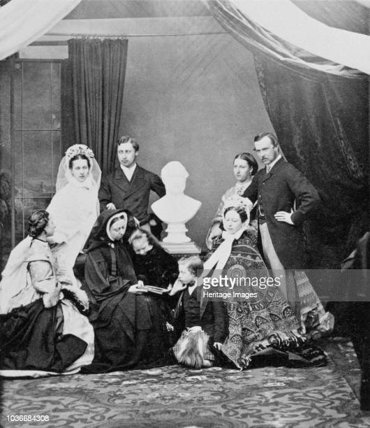 Queen Victoria and her family Windsor 1863 Photograph from a Royal Family album at Osborne House Isle of Wight Photograph possibly taken at the time...