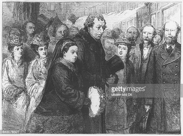 Queen Victoria and Prime Minister Benjamin Disraeli on a visit to Hughenden Manor