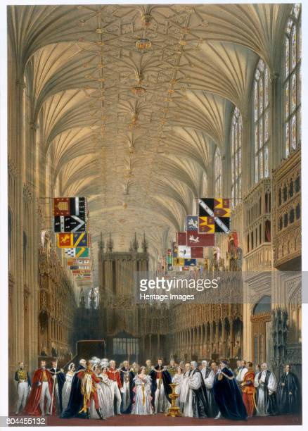 Queen Victoria and Prince Albert at a service in St George's Chapel Windsor Castle 1838 Interior view of the chapel used on ceremonial occasions such...