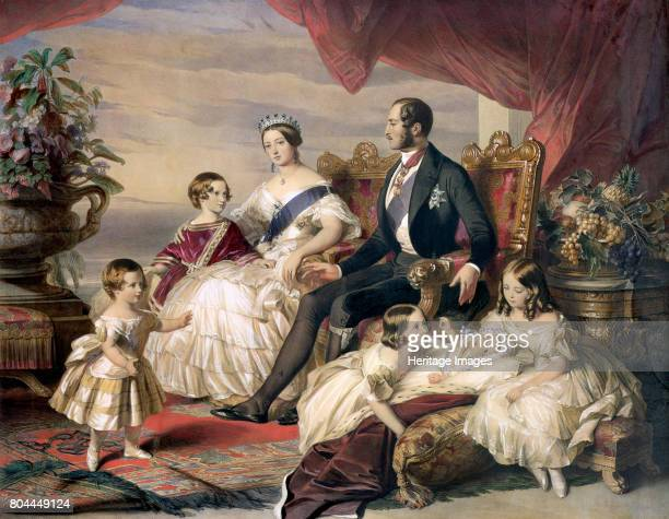 Queen Victoria and Prince Albert with Five of their Children' 1846 Family portrait of Queen Victoria and Prince Albert and offspring Artist Unknown