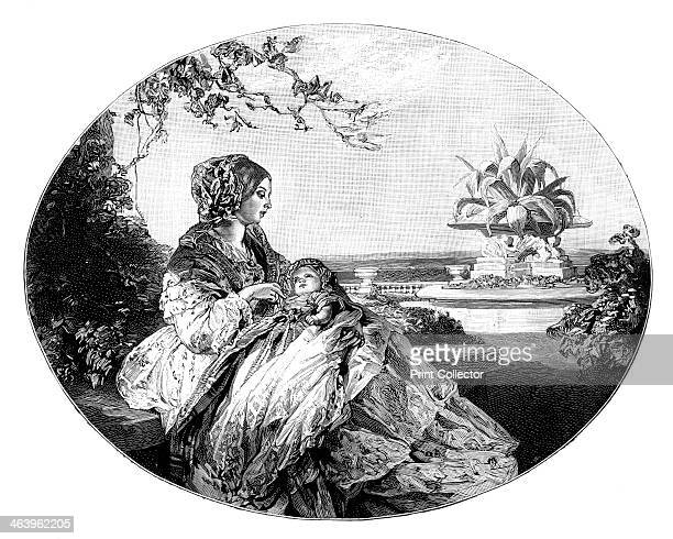 Queen Victoria and Prince Arthur 1850 The queen with her baby son Illustration from The Life Times of Queen Victoria by Robert Wilson Vol III