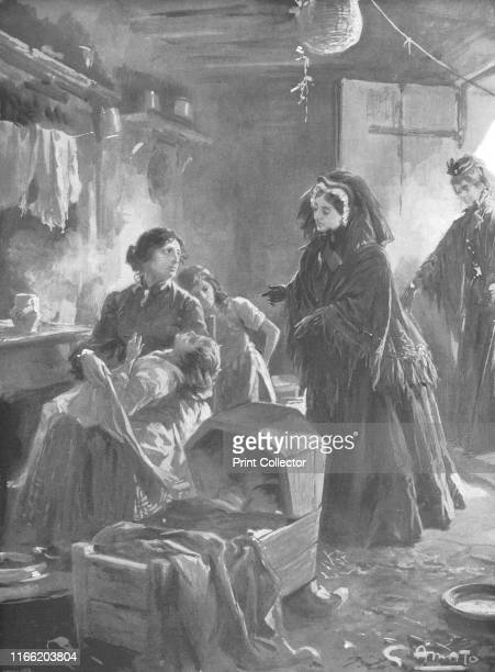 Her Majesty visiting a cottage home' Victoria stands in a sympathic attitude in a humble interior A mother is surrounded by children with clothes...