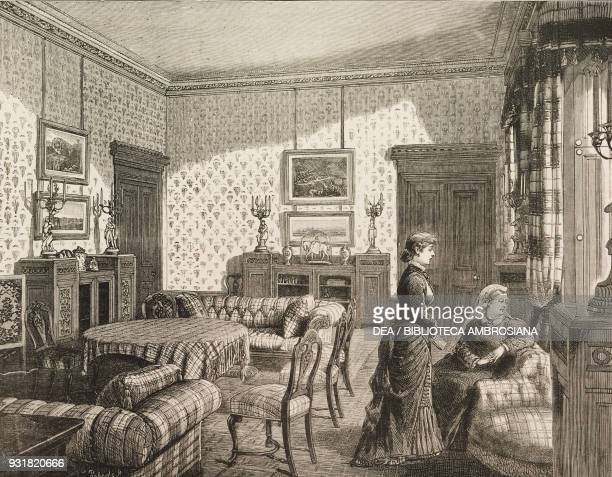 Queen Victoria at Balmoral Castle, the drawing-room, United Kingdom, illustration from the magazine The Graphic, volume XXVI, no 676, November 11,...