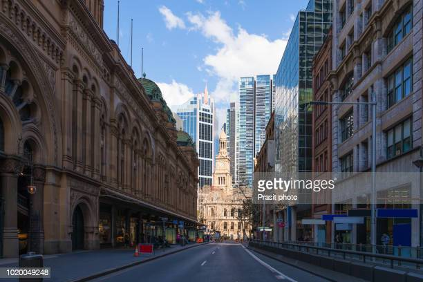 Queen Victoria Building and Sydney Town Hall in Sydney, Australia, New South Wales.