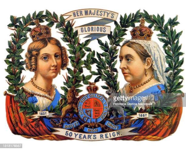 Queen Victoria 'Her Majesty's glorious 50 years reign'. Among the two effigies of the young Queen just crowned in 1837 and in the year of her...