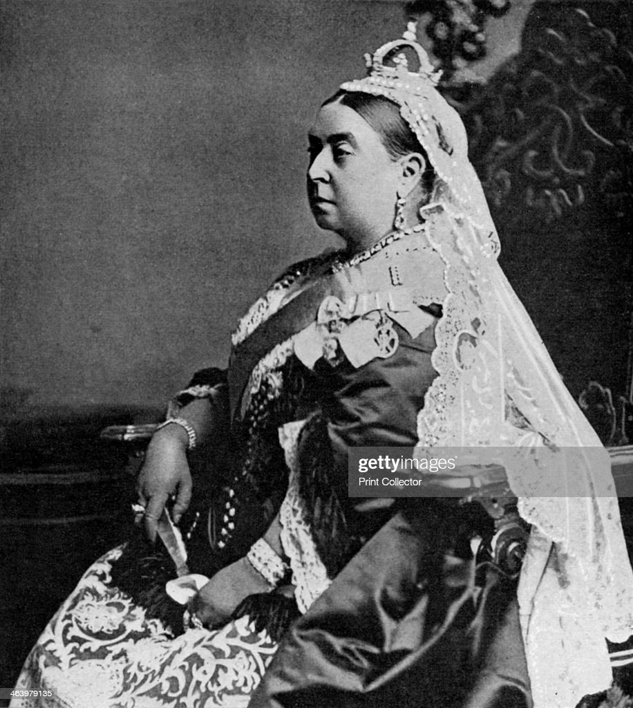 Queen Victoria in ceremonial robes at her Golden Jubilee, 1887 (1951). A print from 100 Years in Pictures, A panorama of History in the Making, text by DC Somervell, Odhams press Limited, London, 1951.