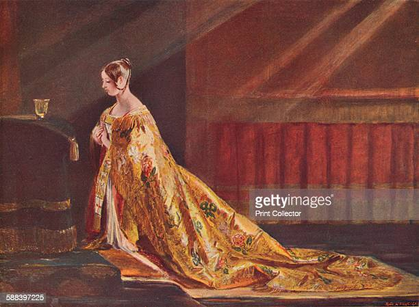 Queen Victoria in the Coronation robes 1838 From Cassell's Illustrated History of England Vol V Artist Charles Robert Leslie