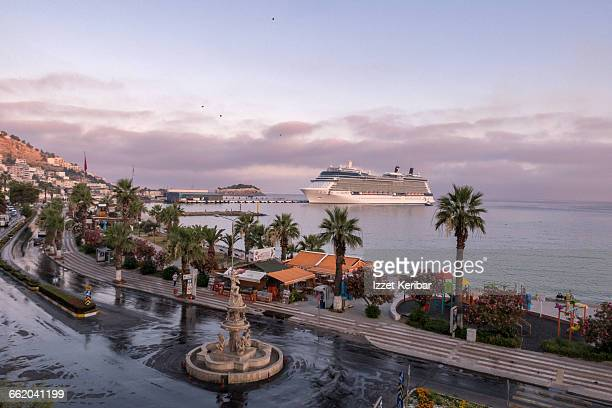 queen victoria liner moored at pier aydin turkey - queen victoria stock pictures, royalty-free photos & images