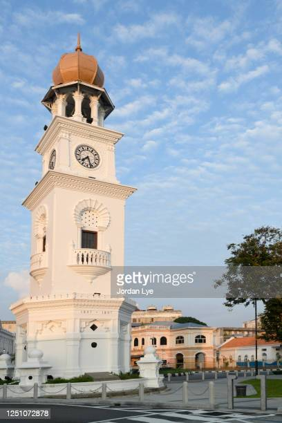 queen victoria memorial clock tower, penang, malaysia - queen victoria stock pictures, royalty-free photos & images