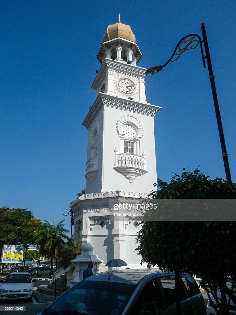 クイーンビクトリア記念クロックタワー、ペナン,マレーシア : ストックフォト