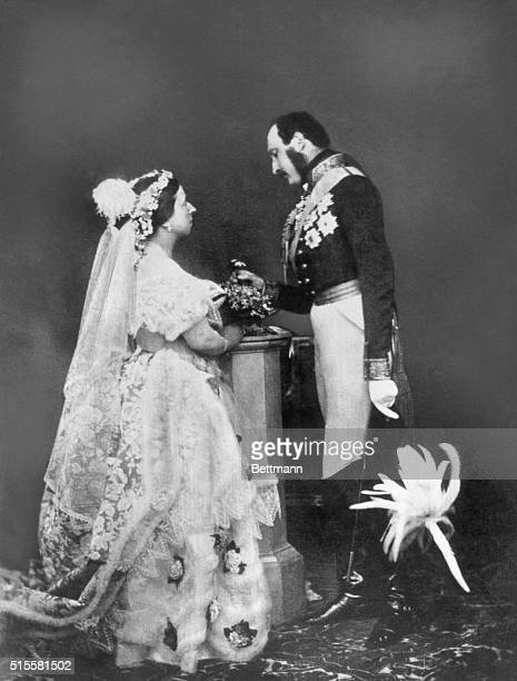Queen Victoria of England and her husband Prince Consort Albert. Rare, early photo, taken in 1851.