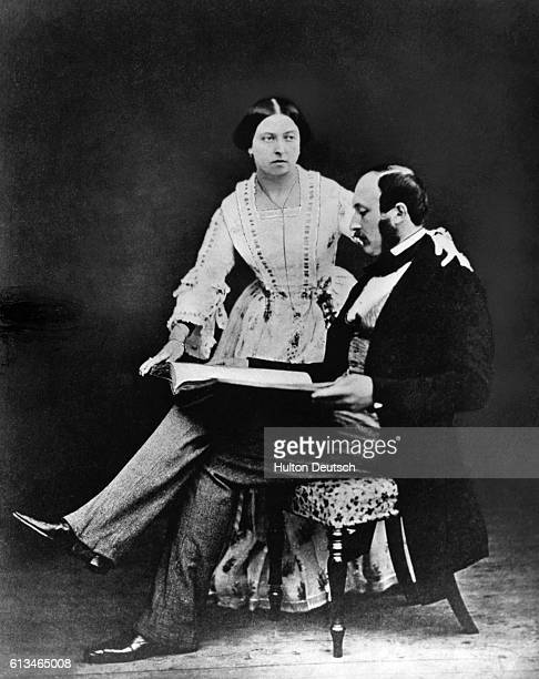 Queen Victoria of England with her husband Prince Albert the Prince Consort This was taken on one of the first occasions on which she agreed to be...