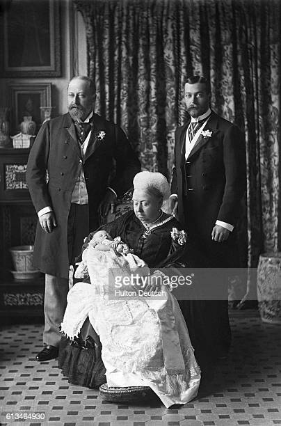 Queen Victoria of England with her son Albert Edward Prince of Wales the future King Edward VII of England his son Prince George and his son Prince...
