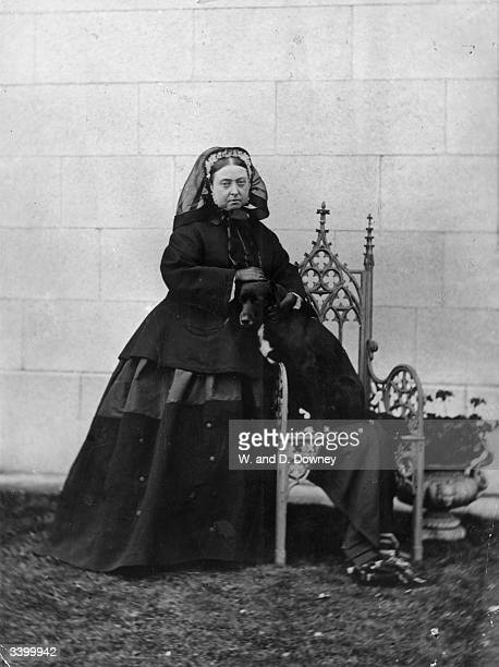 Queen Victoria of Great Britain at Balmoral Castle Scotland with her dog 'sharp'