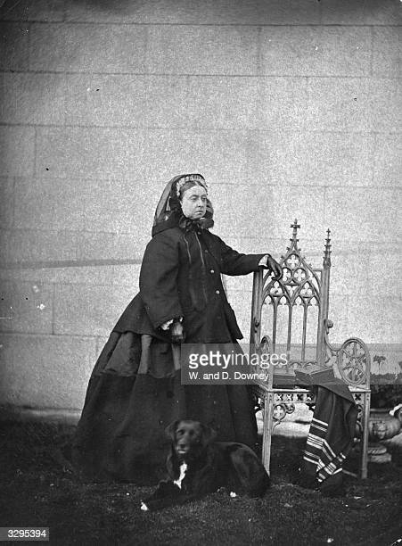 Queen Victoria of Great Britain photographed in London wearing black which was her custom following the death of her husband Albert the Prince Consort