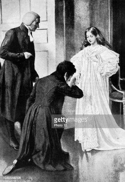 Queen Victoria of Great Britain receives the news of her accession from Lord Conyngham and the Archbishop of Canterbury