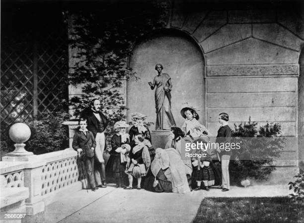Queen Victoria of Great Britain with her husband Prince Albert and their nine children