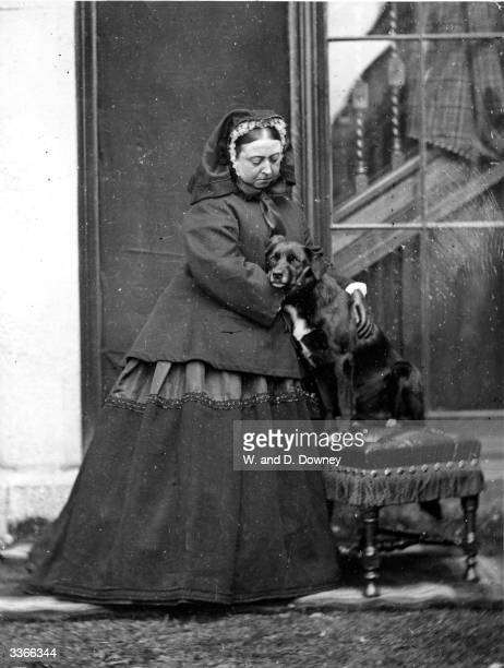 Queen Victoria of Great Britain with her pet dog 'Sharp' at Balmoral Castle in Scotland