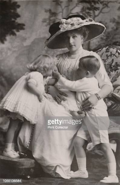HM Queen Victoria of Spain with the Prince of the Asturias Princess Maria Christina and Princess Beatrice' 1911 Victoria Eugenie of Battenberg a...