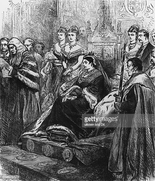 Queen Victoria opening the British Parliament Right Prime Minister Benjamin Disraeli