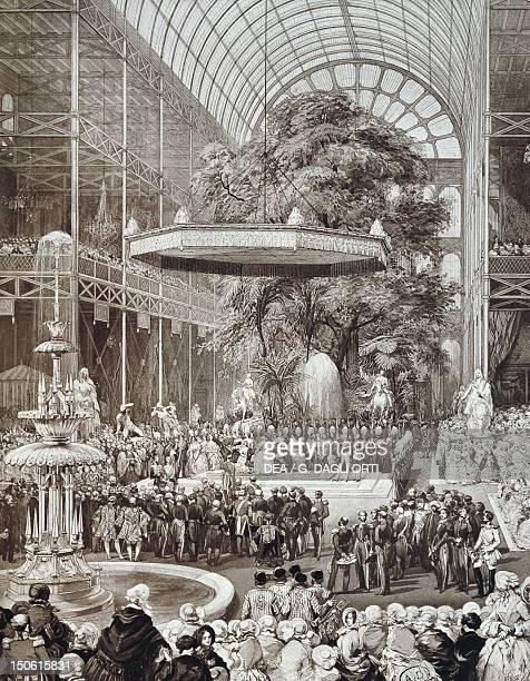 Queen Victoria opening the Great Exhibition at the Crystal Palace in London 1851 England 19th century