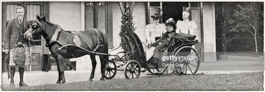 Queen Victoria - photograph of the Queen of the United Kingdom at Balmoral Castle in a horse drawn carriage with Princess Christina of Schleswig-Holstein and Princess Frederica of Hanover. : News Photo