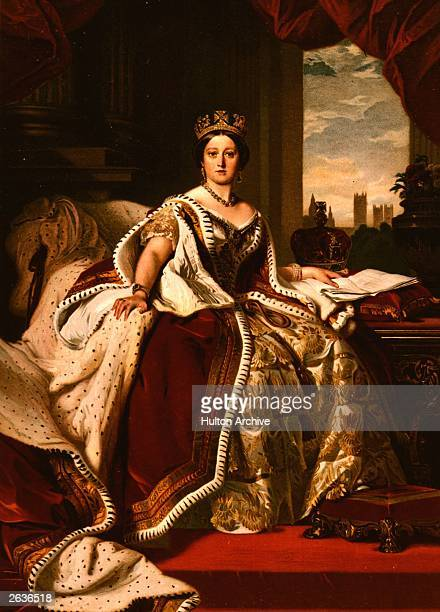 Queen Victoria poses in her Robes of State for this painting by Winterhalter