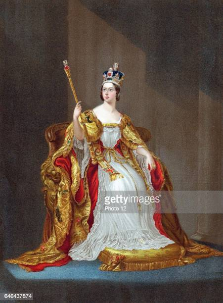 Queen Victoria queen of United Kingdom from 1837, Empress of India from 1876, crowned in 1838. Victoria on throne in coronation robes wearing crown...