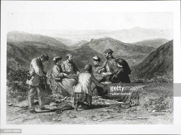 Queen Victoria the Prince Consort Princess Alice Princess Helena Prince Louis of Hesse John Brown and J Grant enjoy a picnic luncheon at Cairn Lochan...