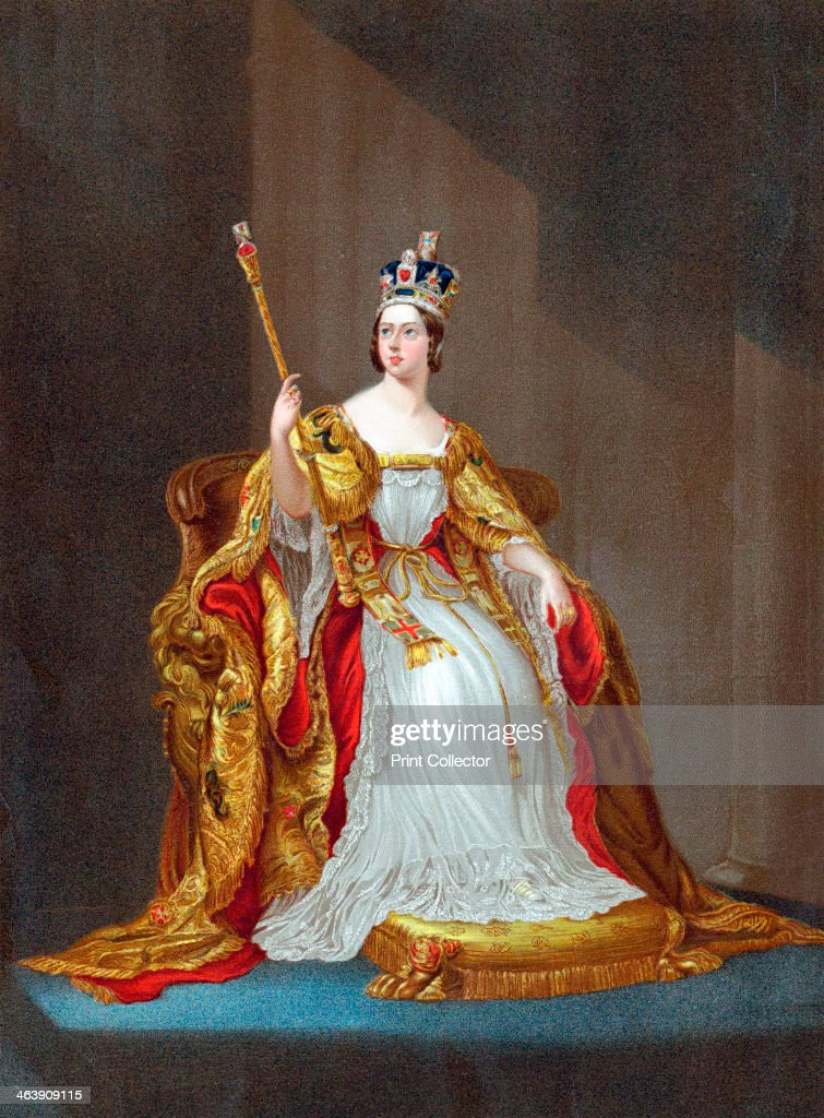 Queen Victoria (1819-1901). Victoria on the throne in her coronation robes wearing the crown and holding the sceptre. She became Queen in 1837 and Empress of India in 1877.