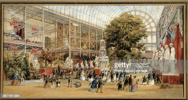 Queen Victoria visiting the Great Exhibition of 1851 at the Crystal Palace in London Painting by Thomas Abiel Prior English School 1855 Watercolor...