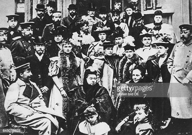 Queen Victoria with children and family members Wilhlem II German Emperor Tsar Nicholas II of Russia Alexandra Feodorovna Prince of Wales future...