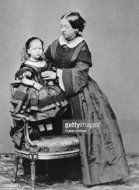 Queen Victoria with her youngest child Princess Beatrice 1860
