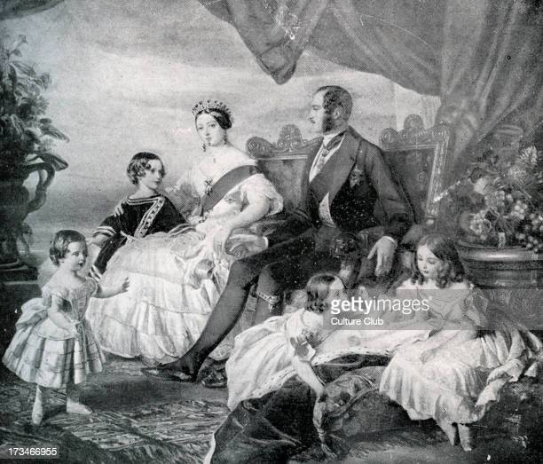 Queen Victoria with Prince Albert and their children in 1846 After painting by F Winterhalter QV Monarch of the United Kingdom of Great Britain and...