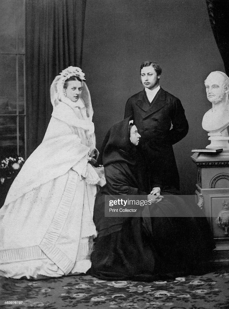 Queen Victoria with the Prince and Princess of Wales on the day of their marriage, 1863 (1964). : News Photo
