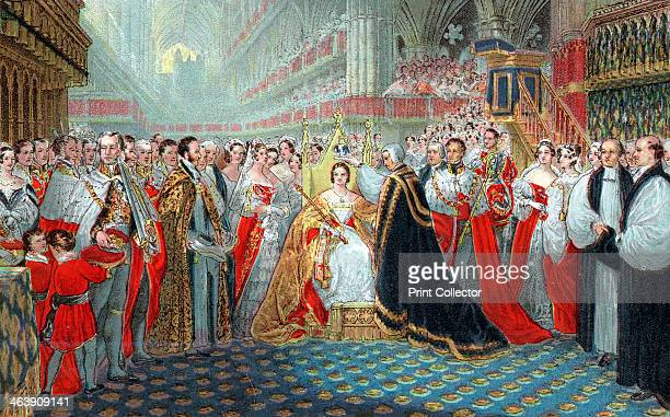 Queen Victoria's coronation 1837 The Archbishop of Canterbury placing the crown on Victoria's head in Westminster Abbey 28 June 1837