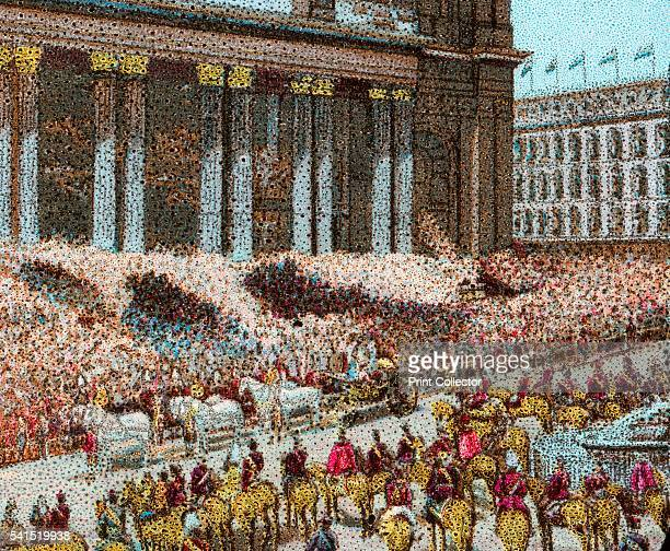 Queen Victoria's Diamond Jubilee' 1897 The ceremony of thanksgiving at St Paul's Cathedral London June 22nd 1897 Crowds outside the cathedral on the...