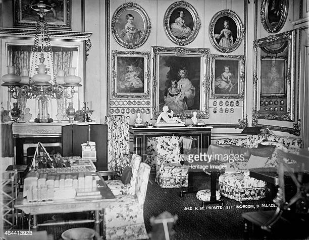 Queen Victoria's private sitting room Buckingham Palace London c1870c1900 The interior of Queen Victoria's private sitting room at Buckingham Palace...