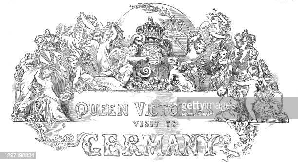 Queen Victoria's visit to Germany, 1845. Decorative cartouche as the heading to an article about a royal visit by the Queen and Prince Albert. From...