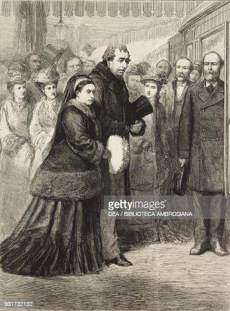 Queen Victoria's visit to Hughenden Manor Her Majesty with Benjamin Disraeli at the railway station High Wycombe United Kingdom illustration from the...