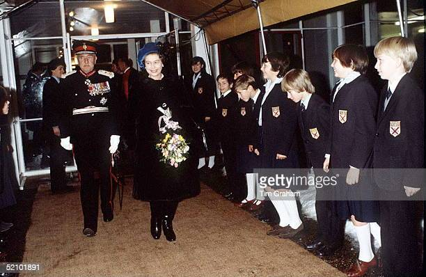 Queen Visits Parmiter's School Near Watford She Is Accompanied By The Lord Lieutenant Of The County Of Hertfordshire