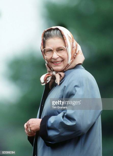 Queen Wearing Headscarf In Windsor Great Park