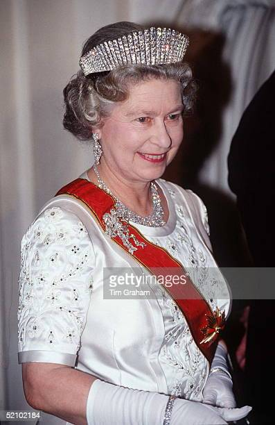 Queen Wearing Russian Fringe Tiara, Diamond Necklace And Queen Mary's True Lovers Knot Brooch For A Banquet At The Schloss Augustusburg In Germany