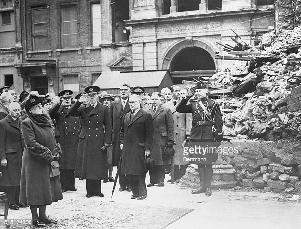 Queen Wilhelmina At Services In Bombed Church London England Prince Bernhard and members of the Dutch Cabinet greet the arrival of Queen Wilhelmina...