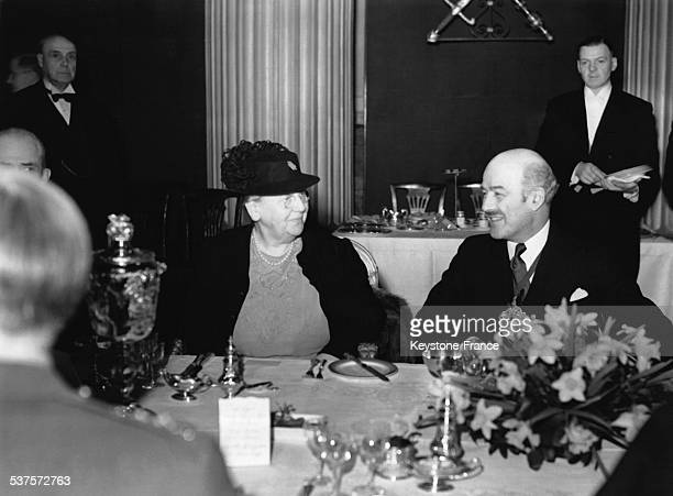 Queen Wilhelmina is having breakfast table with the Mayor in March 1943 in London United Kingdom